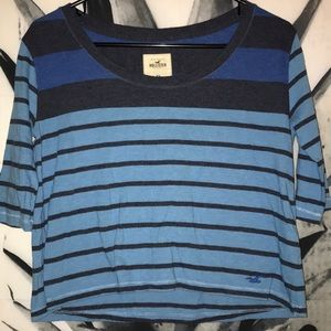 Hollister quarter sleeve grey and blue striped top